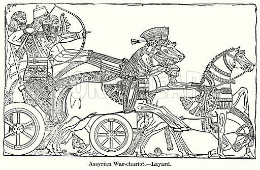 Assyrian War-Chariot. – Layard. Illustration for Blackie's Modern Cyclopedia (1899).