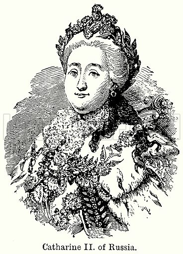 Catharine II of Russia. Illustration for Blackie's Modern Cyclopedia (1899).