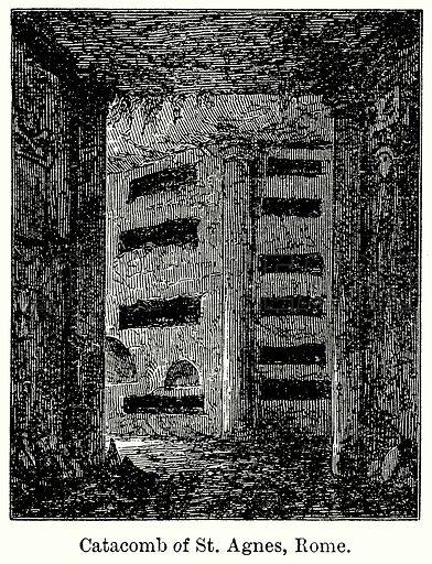Catacomb of St Agnes, Rome. Illustration for Blackie's Modern Cyclopedia (1899).