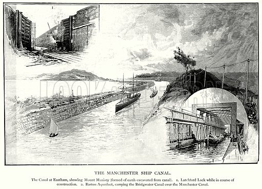 The Manchester Ship Canal. The Canal at Eastham, showing Mount Manisty (Formed of Earth Excavated from Canal). 1. Latchford Lock while in Course of Construction. 2. Barton Aquequct, carrying the Bridgwater Canal over the Manchester Canal. Illustration for Blackie's Modern Cyclopedia (1899).