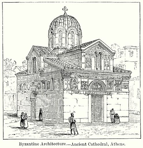 Byzantine Architecture. – Ancient Cathedral, Athens. Illustration for Blackie's Modern Cyclopedia (1899).