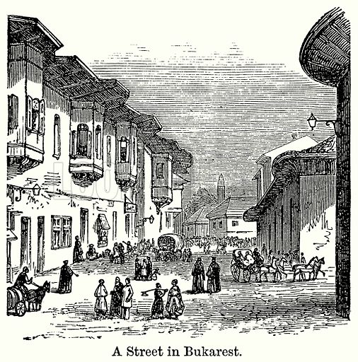 A Street in Bukarest. Illustration for Blackie's Modern Cyclopedia (1899).