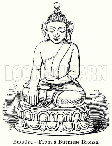 Buddha. Illustration for Blackie's Modern Cyclopedia (1899).