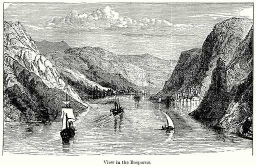 View in the Bosporus. Illustration for Blackie's Modern Cyclopedia (1899).