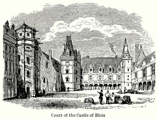 Court of the Castle of Blois. Illustration for Blackie's Modern Cyclopedia (1899).
