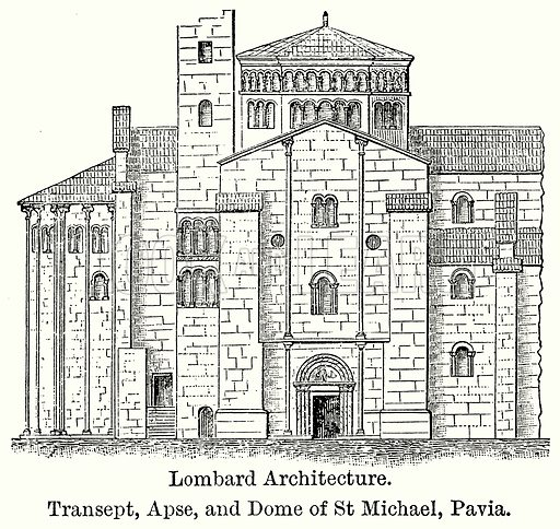 Lombard Architecture. Transept, Apse, and Dome of St Michel, Pavia. Illustration for Blackie's Modern Cyclopedia (1899).