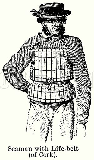 Seaman with Life-Belt (Of Cork). Illustration for Blackie's Modern Cyclopedia (1899).