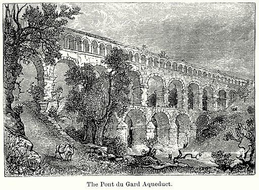The Pont du Gard Aqueduct. Illustration for Blackie's Modern Cyclopedia (1899).
