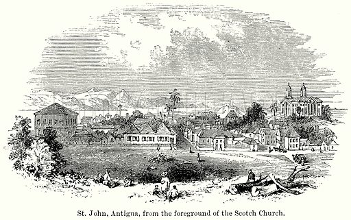 St John, Antigua, from the Foreground of the Scotch Church. Illustration for Blackie's Modern Cyclopedia (1899).