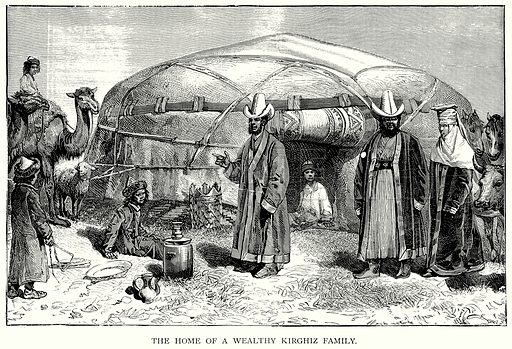 The Home of a Wealthy Kirghiz Family. Illustration for Blackie's Modern Cyclopedia (1899).