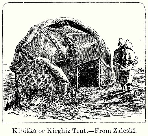 Kibitka or Kirghiz Tent. Illustration for Blackie's Modern Cyclopedia (1899).