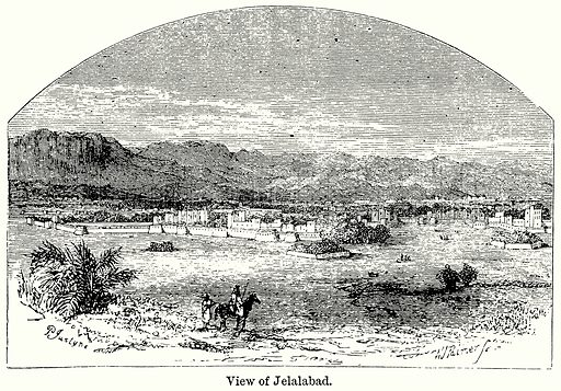 View of Jelalabad. Illustration for Blackie's Modern Cyclopedia (1899).