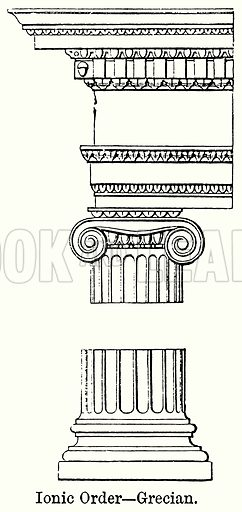 Ionic Order – Grecian. Illustration for Blackie's Modern Cyclopedia (1899).