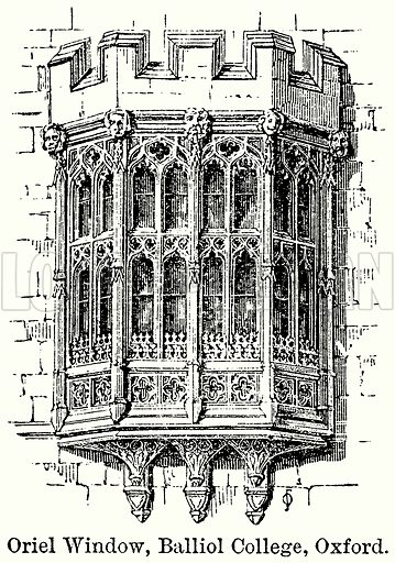 Oriel Window, Balliol College, Oxford. Illustration for Blackie