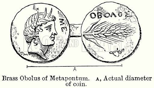 Brass Obolus of Metapontum. A, Actual Diameter of Coin. Illustration for Blackie's Modern Cyclopedia (1899).