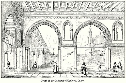 Court of the Mosque of Tooloon, Cairo. Illustration for Blackie's Modern Cyclopedia (1899).