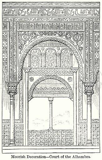 Moorish Decoration – Court of the Alhambra. Illustration for Blackie's Modern Cyclopedia (1899).