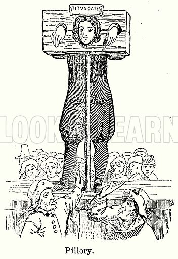 Pillory. Illustration for Blackie's Modern Cyclopedia (1899).