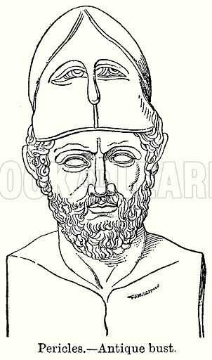 Pericles. – Antique Bust. Illustration for Blackie's Modern Cyclopedia (1899).