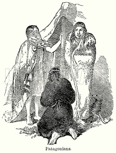 Patagonians. Illustration for Blackie's Modern Cyclopedia (1899).