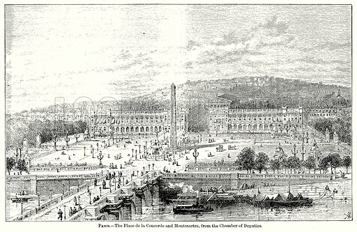 Paris. – The Place De la Concorde and Montmartre, from the Chamber of Deputies. Illustration for Blackie's Modern Cyclopedia (1899).