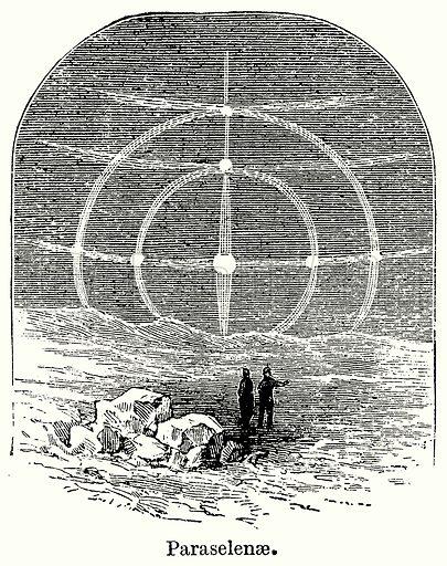 Paraselenae. Illustration for Blackie's Modern Cyclopedia (1899).