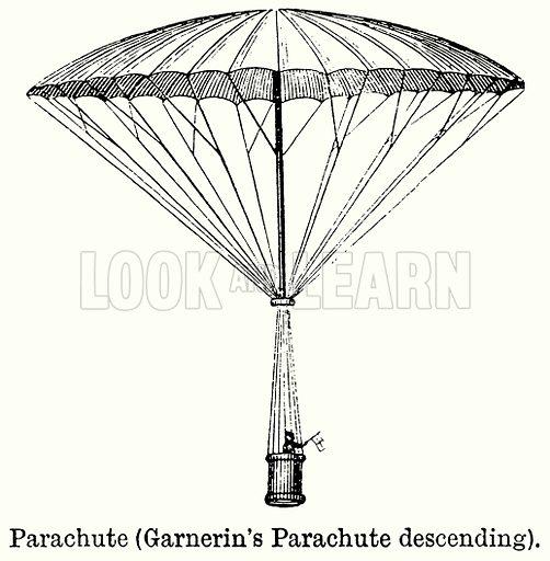Parachute (Garnerin's Parachute Descending). Illustration for Blackie's Modern Cyclopedia (1899).