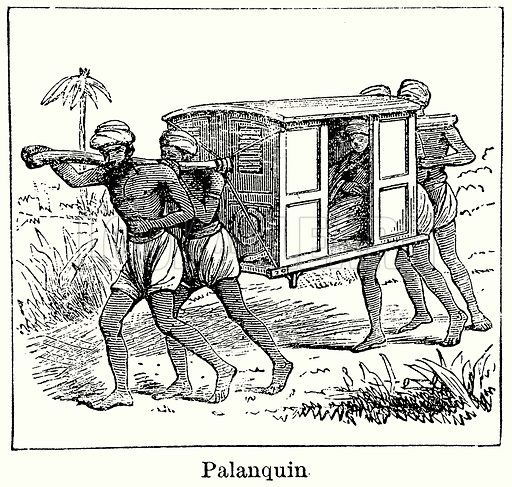 Palanquin. Illustration for Blackie's Modern Cyclopedia (1899).