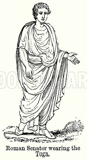 Roman Senator Wearing the Toga. Illustration for Blackie's Modern Cyclopedia (1899).