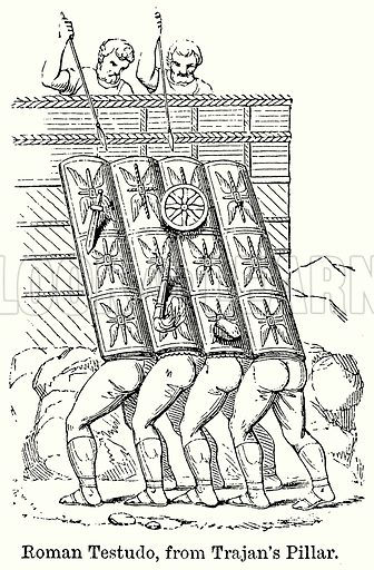 Roman Testudo, from Tranjan's Pillar. Illustration for Blackie's Modern Cyclopedia (1899).