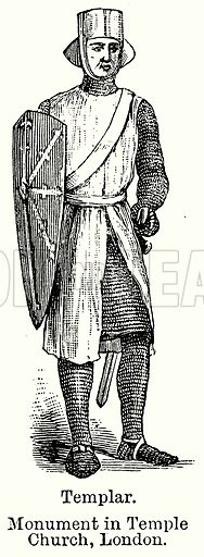 Templar. Monument in Temple Church, London. Illustration for Blackie's Modern Cyclopedia (1899).