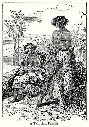 A Tahitian Family. Illustration for Blackie's Modern Cyclopedia (1899).
