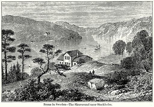 Scene in Sweden – The Skurusund near Stockholm. Illustration for Blackie's Modern Cyclopedia (1899).