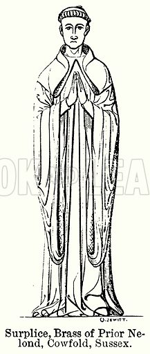 Surplice, Brass of Prior Nelond, Cowfold, Sussex. Illustration for Blackie's Modern Cyclopedia (1899).
