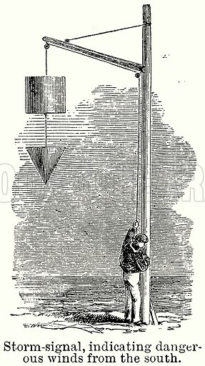 Storm-Signal, Indicating Dangerous Winds from the South. Illustration for Blackie's Modern Cyclopedia (1899).
