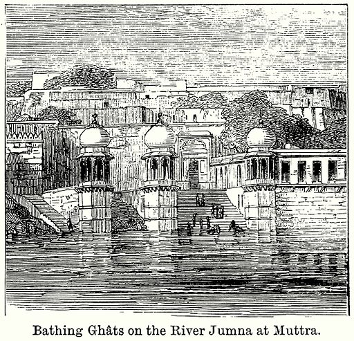 Bathing Ghats on the River Jumna at Muttra. Illustration for Blackie's Modern Cyclopedia (1899).