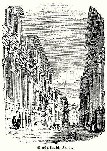 Strada Balbi, Genoa. Illustration for Blackie's Modern Cyclopedia (1899).