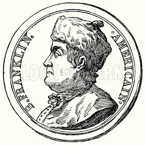 B Franklin. Americain. Illustration for Blackie's Modern Cyclopedia (1899).