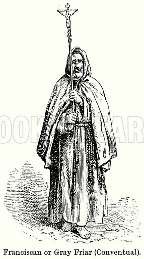 Franciscan or Gray Friar (Conventual). Illustration for Blackie's Modern Cyclopedia (1899).