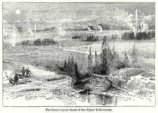 The Great Geyser Basin of the Upper Yellowstone. Illustration for Blackie's Modern Cyclopedia (1899).