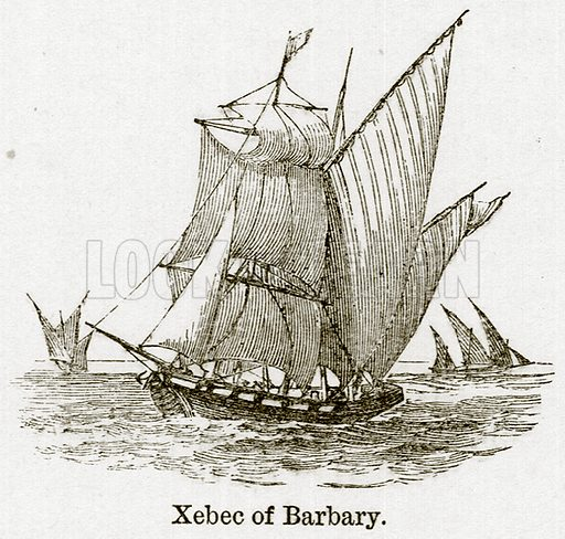 Xebec of Barbary. Illustration for Blackie's Modern Cyclopedia (1899).