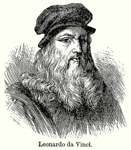 Leonardo da Vinci. Illustration for Blackie's Modern Cyclopedia (1899).