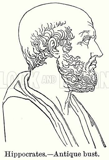 Hippocrates.--Antique Bust. Illustration for Blackie's Modern Cyclopedia (1899).