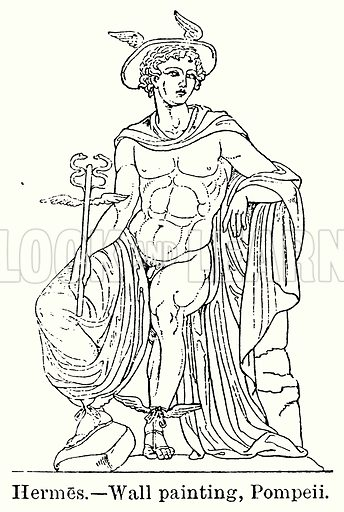 Hermes. – Wall Painting, Pompeii. Illustration for Blackie's Modern Cyclopedia (1899).