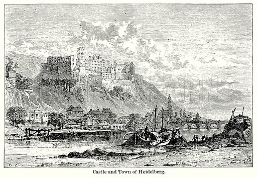 Castle and Town of Heidelberg. Illustration for Blackie's Modern Cyclopedia (1899).
