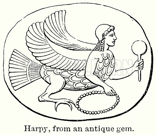 Harpy, from an Antique Gem. Illustration for Blackie's Modern Cyclopedia (1899).