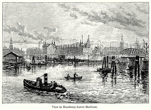 View in Hamburg Lower Harbour. Illustration for Blackie's Modern Cyclopedia (1899).