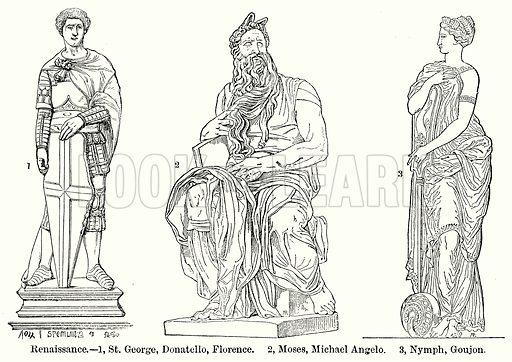 Renaissance. – 1, St George, Donatello, Florence. 2, Moses, Michael Angelo. 3, Nymph, Goujon. Illustration for Blackie's Modern Cyclopedia (1899).