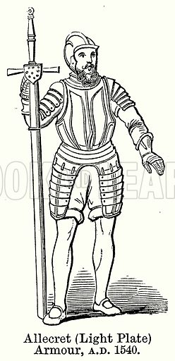 Allecret (Light Plate) Armour, AD 1540. Illustration for Blackie's Modern Cyclopedia (1899).