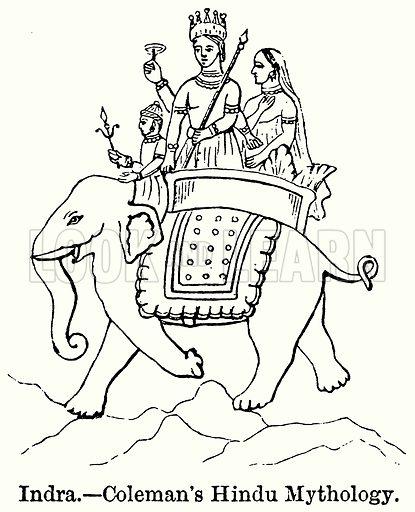 Indra. – Coleman's Hindu Mythology. Illustration for Blackie's Modern Cyclopedia (1899).